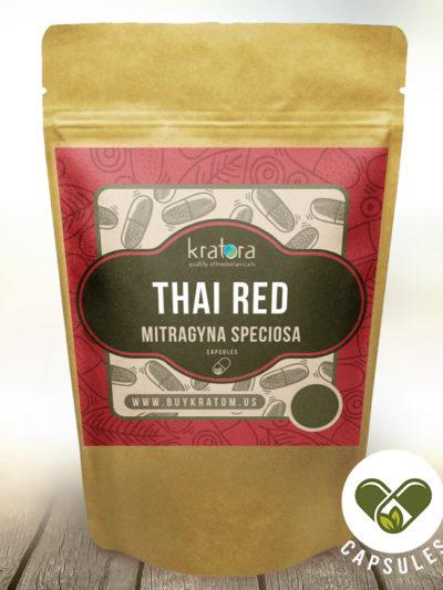 Pouch of Thai Red kratom Mitragyna speciosa capsules