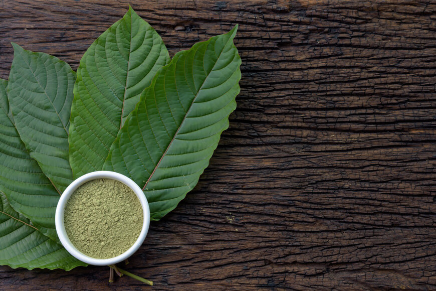 Fresh kratom leaves and powder set against a wooden surface