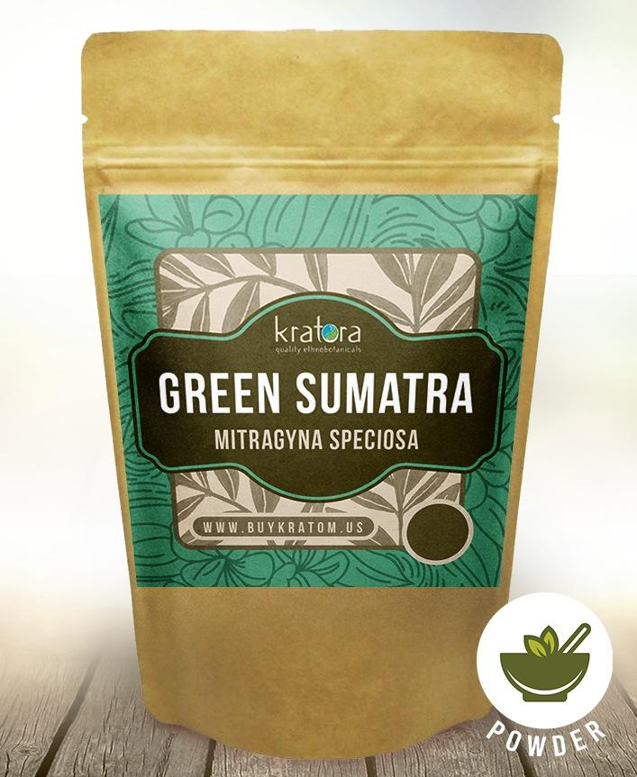 A packet of Kratora's most powerful Green Vein Sumatra kratom.