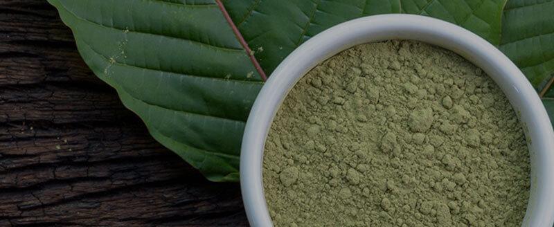 Powdered Kratom on Leaves
