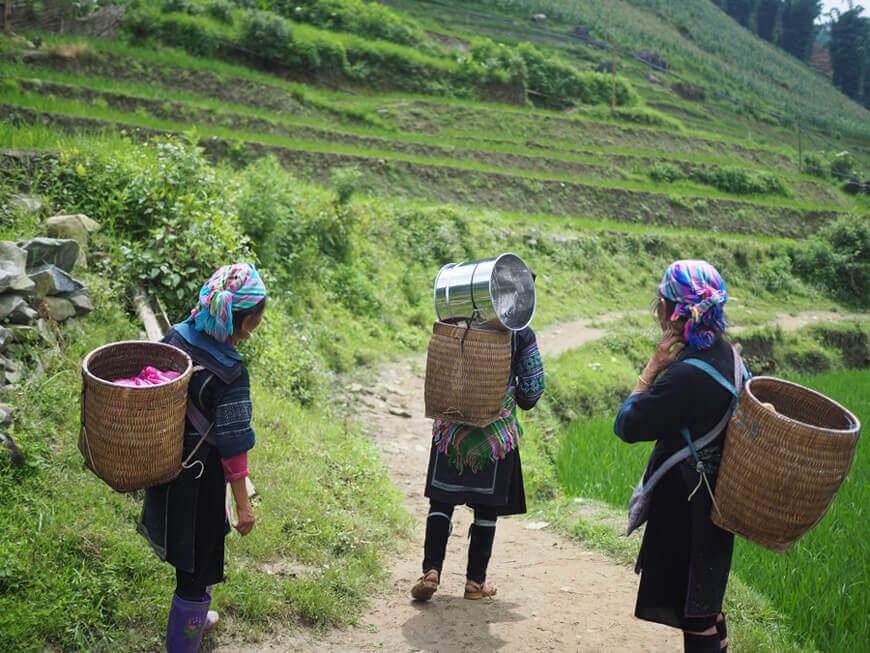 Traditional women carrying baskets on their backs in a rural area.