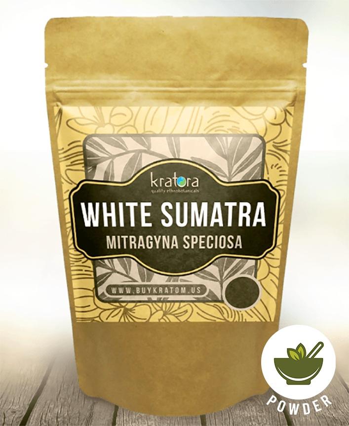 A packet of Kratora's most powerful White Vein Sumatra kratom.