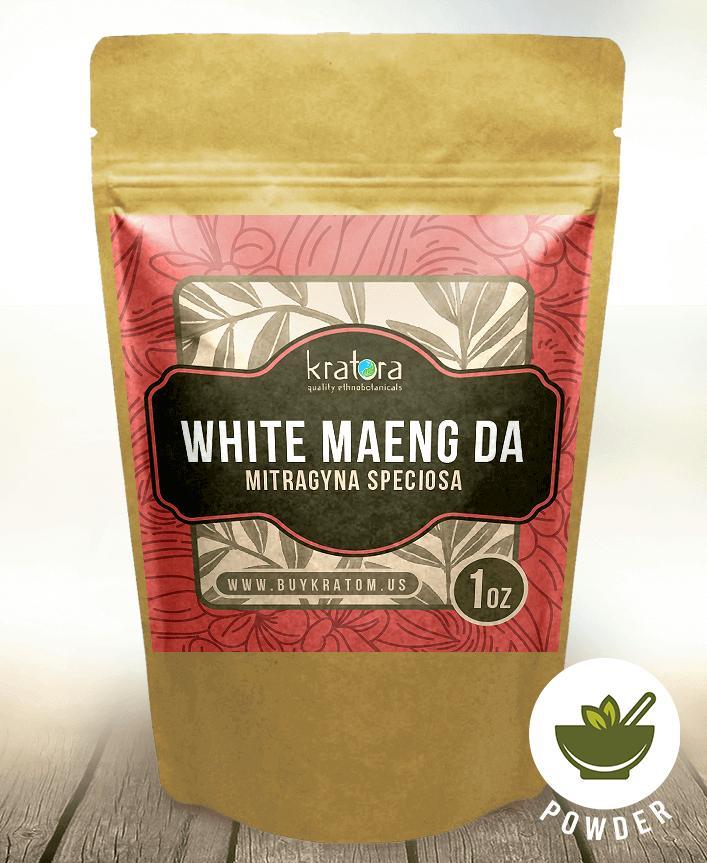A packet of Kratora's most powerful White Maeng Da kratom.